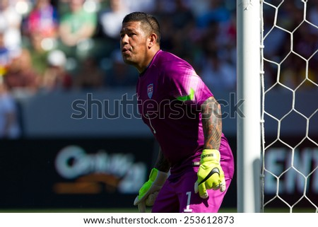 CARSON, CA. - FEB 2 : United States goalkeeper Nick Rimando during the USA friendly against Panama on February 2nd 2015 at the StubHub Center in Carson, California. - stock photo