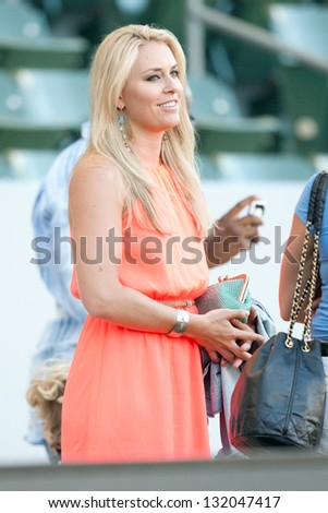 CARSON, CA - JUNE 23: Lindsey Vonn U.S. skiing champion & olympic gold medalist at the MLS game between the Los Angeles Galaxy & Vancouver Whitecaps on June 23, 2012 at the Home Depot Center in Carson - stock photo
