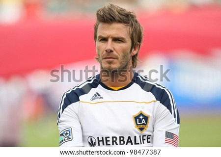 CARSON, CA. - OCT 3: Los Angeles Galaxy M David Beckham #23 before the Chivas USA vs Los Angeles Galaxy game on Oct 3 2010 at the Home Depot Center in Carson, Ca.. - stock photo