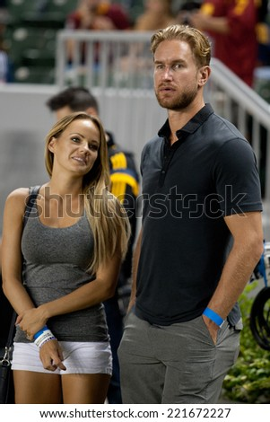 CARSON, CA - OCT 4: Los Angeles Kings centerman Jeff Carter during the Los Angeles Galaxy MLS game against Toronto FC on Oct 4th, 2014 at the StubHub Center. - stock photo