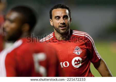 CARSON, CA - OCT 4: Toronto FC midfielder Dwayne De Rosario during the Los Angeles Galaxy MLS game against Toronto FC on Oct 4th, 2014 at the StubHub Center. - stock photo