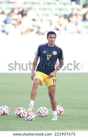 CARSON, CA - SEPT 28:  Tim Cahill during the Los Angeles Galaxy MLS game against the New York Red Bulls on Sept 28th 2014 at the StubHub Center. - stock photo
