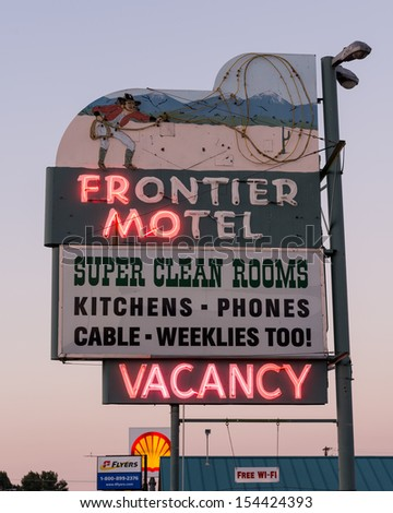 CARSON CITY, NEVADA - AUGUST 14: Vacancy at the Frontier Motel on August 14, 2014 in Carson City, Nevada - stock photo