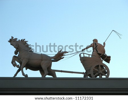 Cart and Horses Statue - stock photo