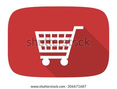 cart flat design modern icon with long shadow for web and mobile app - stock photo