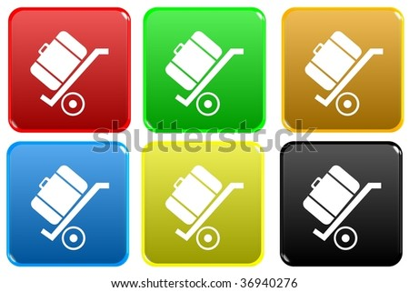 cart with luggage on it web button - stock photo