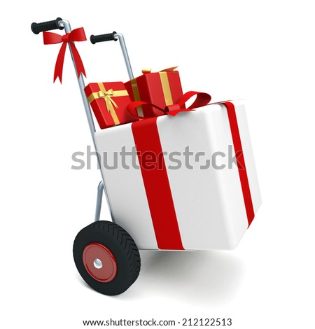 Cart with many presents and white background - stock photo