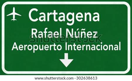Cartagena Colombia International Airport Highway Sign 2D Illustration - stock photo