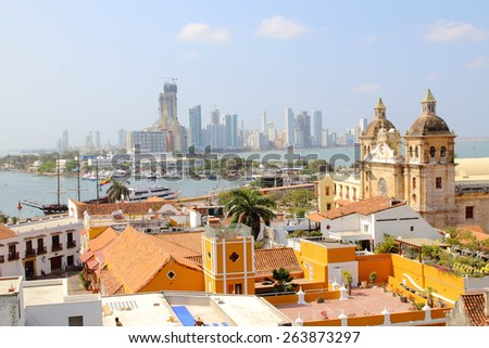 Cartagena, Colombia skyline. Historic city center, bocagrande and port - stock photo