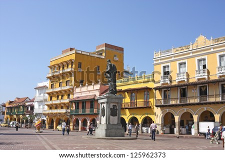 CARTAGENA- Jan 10: Square of carriages on January 10, 2012 in Cartagena, Colombia. Historic center was declared a World Heritage Site by UNESCO in 1984, and receives more than 7 million tourists. - stock photo