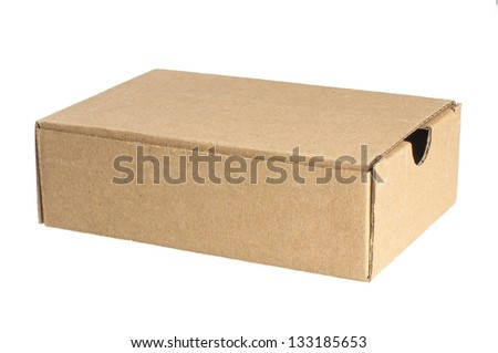 Carton box isolated on white - stock photo