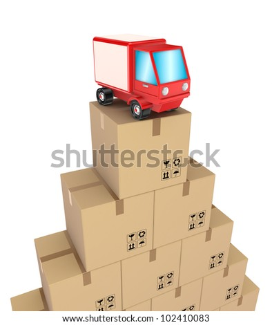 Carton boxes and red truck.Isolated on white background.3d rendered. - stock photo