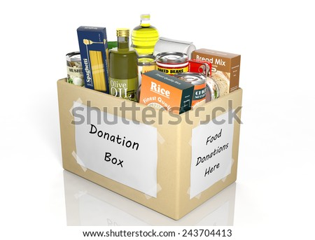 Carton donation box full with products isolated on white - stock photo