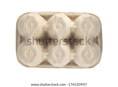 carton for eggs isolated - stock photo