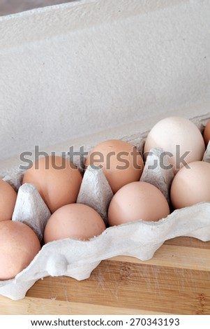 Carton of farm fresh eggs - stock photo