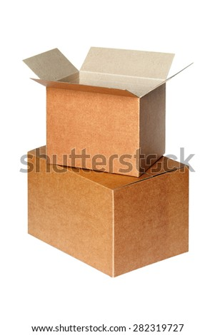 Cartons isolated on white background - stock photo