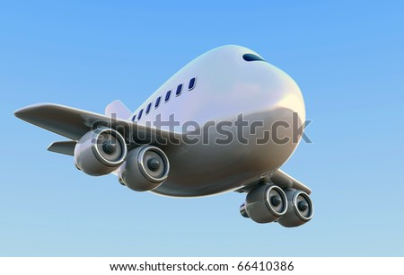 Cartoon 747 airplane against a blue sky - stock photo