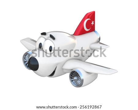 Cartoon airplane with a smiling face - Turkish flag - stock photo