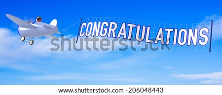 Cartoon Airplanes with Congratulations Banner. - stock photo