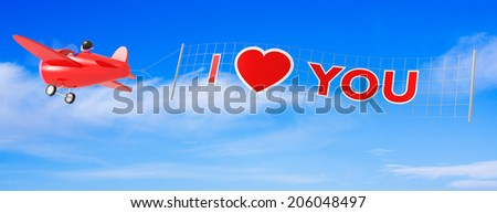 Cartoon Airplanes with I Love You Banner. - stock photo