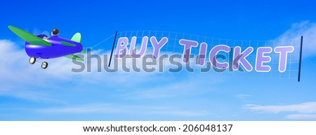 Cartoon Airplanes with Ticket Banner - stock photo