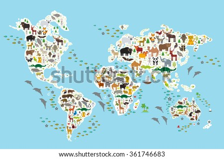 Cartoon animal world map for children and kids, Animals from all over the world, white continents and islands on blue background of ocean and sea.  - stock photo