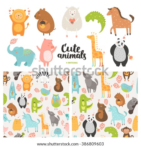 Cartoon animals collection and seamless patterns. Cute pig, lion, sheep, dog, bird, rabbit, panda, elephant, giraffe, horse isolated on white background, baby animals in love - stock photo
