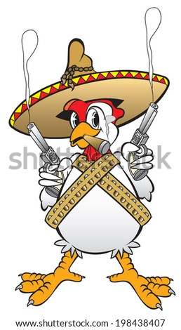 cartoon art of a mexican rooster holding six shooters and smoking a cigar and wearing his bullet belts. He means business. - stock photo