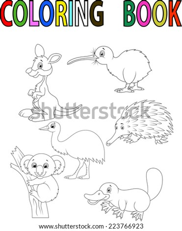 Cartoon Australia animal coloring book - stock photo