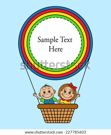 Cartoon background with kids fly in balloon basket. - stock photo