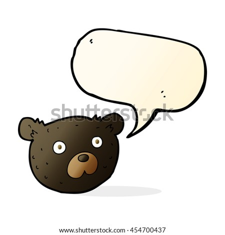 cartoon black bear with speech bubble - stock photo