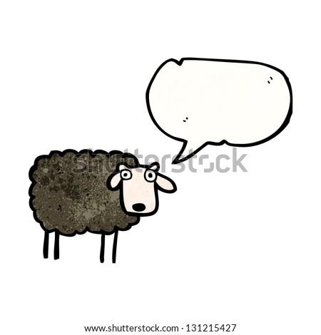 cartoon black sheep - stock photo