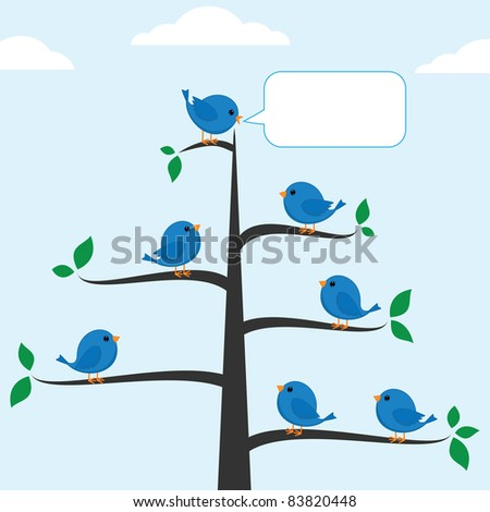 Cartoon blue bird talking to other. Raster version. - stock photo