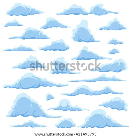 Cartoon blue clouds on a white sky background. Set of isolated funny cartoon clouds, smoke and fog patterns icons, for filling your sky scenes or the game interface backgrounds. illustration - stock photo