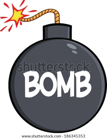 Cartoon Bomb With Text. Raster Illustration Isolated on white - stock photo
