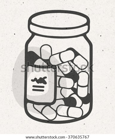 cartoon bottle of medical capsules - stock photo