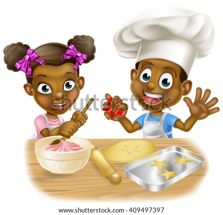 Cartoon boy and girl kids dressed as chefs baking cakes and cookies - stock photo