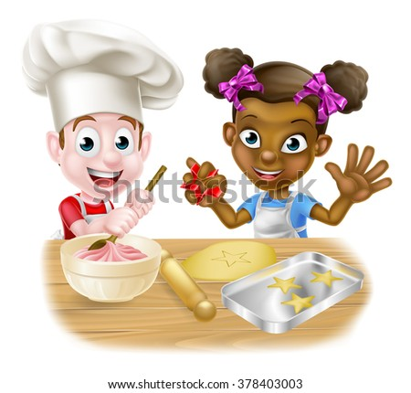 Cartoon boy and girl kids, one black one white, dressed as chefs or bakers baking cakes and cookies - stock photo