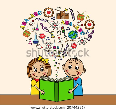 Cartoon boy and girl reading a book while sitting at a table. Depart from the book pictures, letters, signs and symbols of knowledge. - stock photo