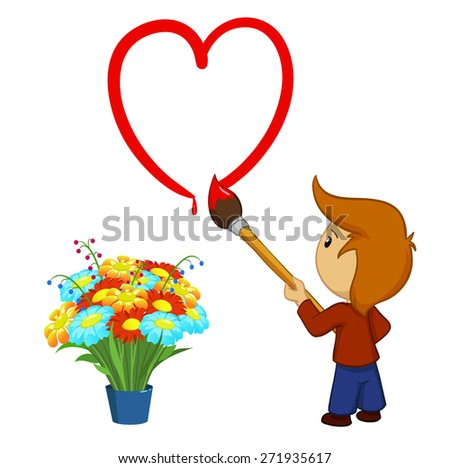 Cartoon boy drawing red valentine's day heart shape with paintbrush isolated on white - stock photo