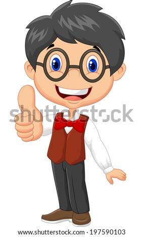 Cartoon boy giving thumb up - stock photo