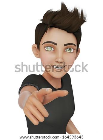 cartoon boy I want you - stock photo