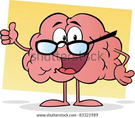 Cartoon Brain Giving The Thumbs Up.Vector version is also available - stock photo