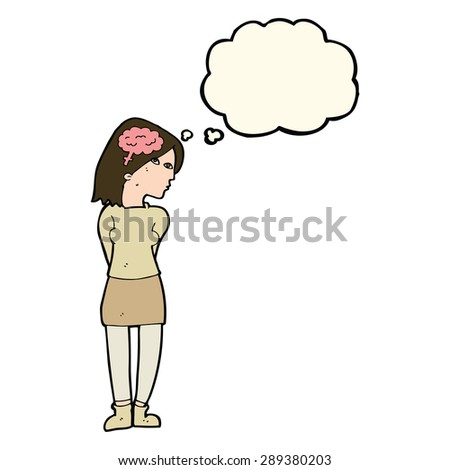 cartoon brainy woman with thought bubble - stock photo