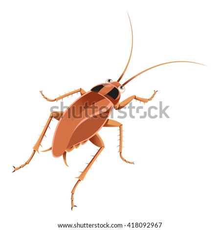 Cartoon brown cockroach  - stock photo
