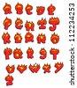 cartoon burning letter alphabet set - stock photo