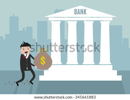 Cartoon Businessman carry his money bag into bank. illustration in flat design on blue city scape backgound, financials investment - stock photo