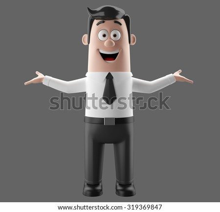 Cartoon businessman, 3D character figure of a man in suit and tie, funny icon of successful humorous agent, fun cheerful sale illustrations, dear professor or teacher, young happy smiling isolated  - stock photo