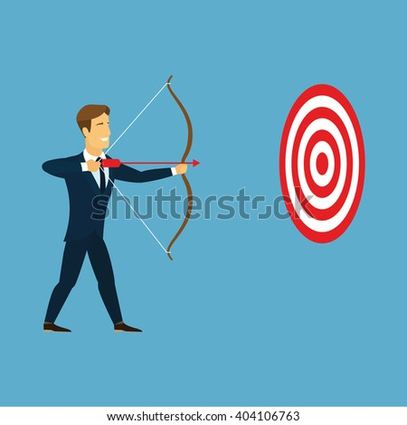 Cartoon businessman with bow and arrow hitting the center bulls-eye in archery target. Businessman take aim red arrow from a bow in red and white circular goal. Business target and goal concept . Logo - stock photo