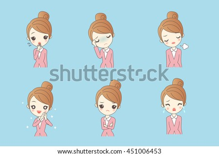 cartoon businesswoman is making variety of expressions - stock photo